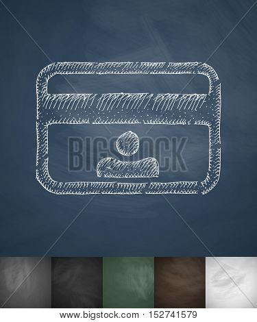 Id card icon. Hand drawn vector illustration. Chalkboard Design