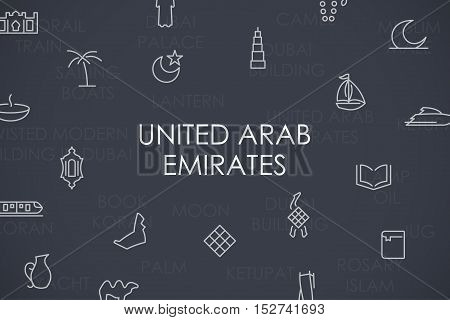 Thin Stroke Line Icons of United Arab Emirates on White Background