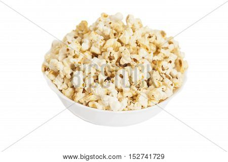 Bowl of popcorn isolated on white background