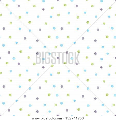 Watercolor seamless pattern with gray blue and green painted dots. Pastel cofetti background polka dot texture on white backdrop