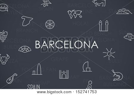 Thin Stroke Line Icons of Barcelona on White Background