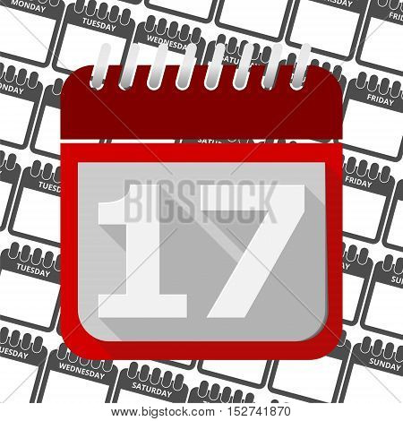 Red Calendar - Vector Icon number 17