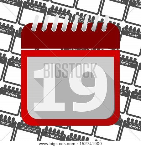 Red Calendar - Vector Icon number 19
