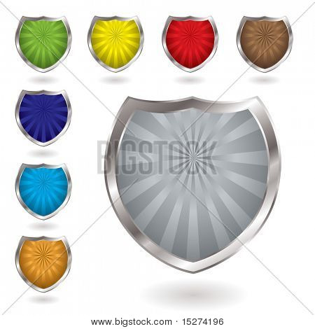 Colorful radiating shields with drop shadow and silver bevel