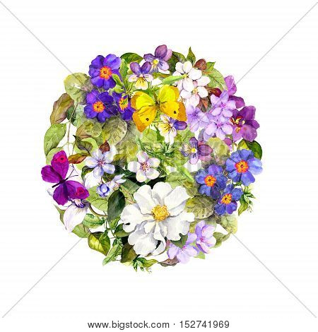 Vintage round background - floral pattern with blue-violet flowers and spring butterflies. Retro watercolor