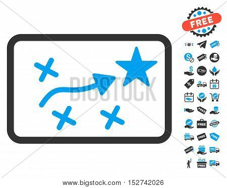 Route Plan pictograph with free bonus design elements. Vector illustration style is flat iconic symbols, blue and gray colors, white background.