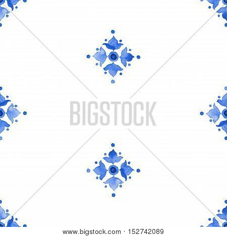 Watercolor delft blue style seamless pattern renaissance tiling ornament. Delicate cobalt blue floral pattern. Stylized heraldic lily on white background. Holland tile motives blue background