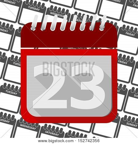 Red Calendar - Vector Icon number 23