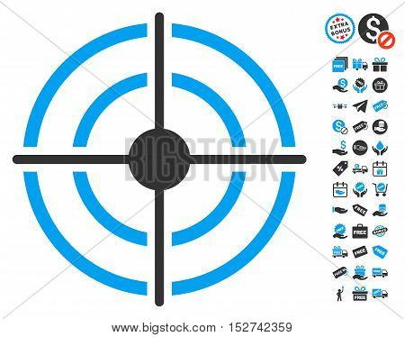Target pictograph with free bonus clip art. Vector illustration style is flat iconic symbols, blue and gray colors, white background.