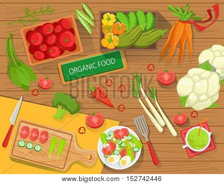 Table With Fresh Organic Vegetables And Cooking Attributes View From Above. Simple Bright Color Vector Illustration With Vegetarian Food Preparation Ingredients.