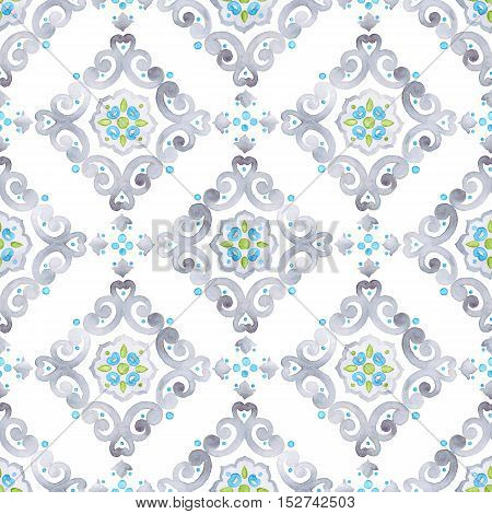 Watercolor filigree seamless pattern renaissance ornament. Delicate pastel openwork lace pattern. Soft gray blue and green revival tracery design