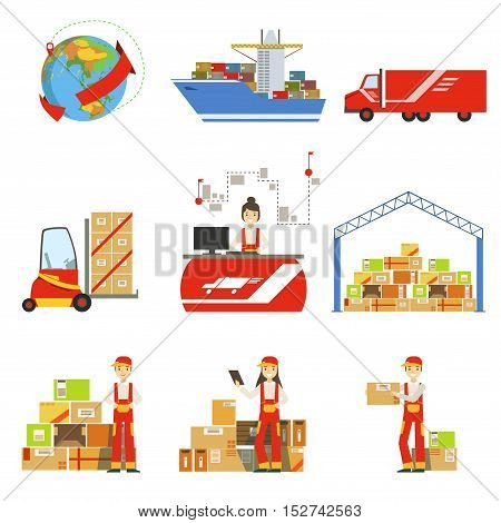 Logistics And Delivery Process And Managers Set. Bright Color Simple Flat Illustrations Isolated On White Background.