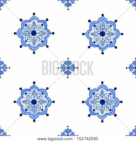 Delft blue style seamless pattern. Watercolor vintage filigree cobalt blue ornament for textile fabric wallpaper tableware. Dutch motives boho surface design. Holland tile motives blue background