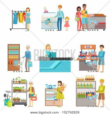 People Shopping In Supermarket Set Of Illustrations. Department Store Visitors And The Products They Buy Flat Simple Vector Stickers.