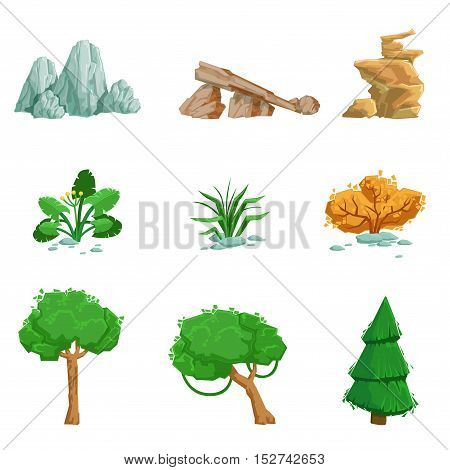 Landscape Natural Elements Set Of Detailed Icons. Isolated Drawings Of Plants And Rocks For Landscaping On White Background.