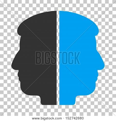 Blue And Gray Dual Face interface pictogram. Vector pictograph style is a flat bicolor symbol on chess transparent background.
