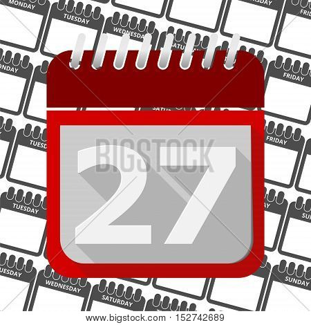 Red Calendar - Vector Icon number 27