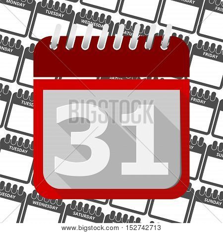 Red Calendar - Vector Icon number 31