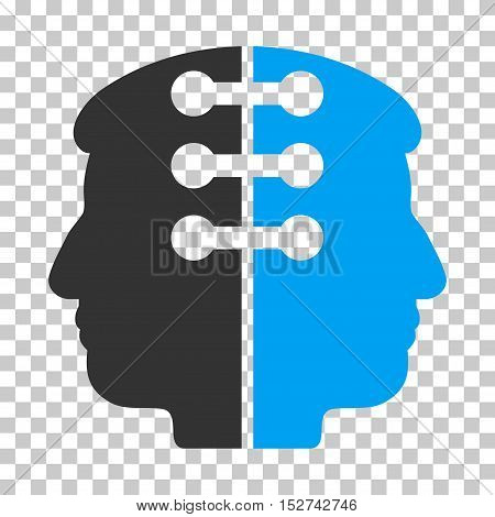 Blue And Gray Dual Head Interface toolbar pictogram. Vector pictograph style is a flat bicolor symbol on chess transparent background.