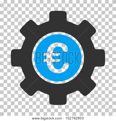 Blue And Gray Euro Development Gear toolbar icon. Vector pictograph style is a flat bicolor symbol on chess transparent background.