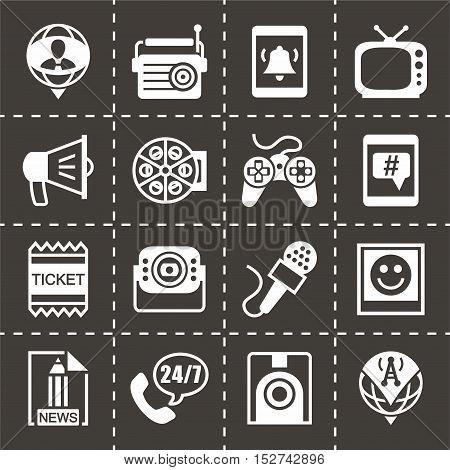 Vector Media icon set on black background