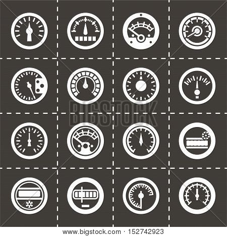 Vector Meter icon set on black background
