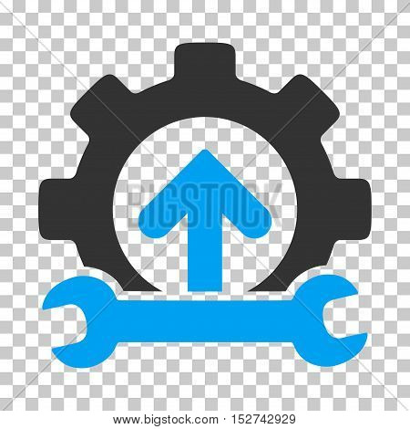 Blue And Gray Gear Integration Tools toolbar icon. Vector pictogram style is a flat bicolor symbol on chess transparent background.
