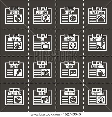 Vector Newspaper icon set on black background
