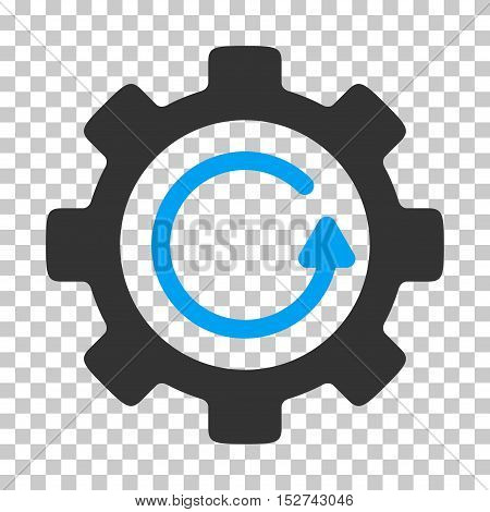 Blue And Gray Gear Rotation Direction toolbar icon. Vector pictogram style is a flat bicolor symbol on chess transparent background.