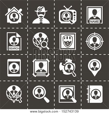 Vector People search icon set on black background