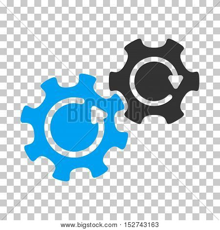 Blue And Gray Gears Rotation toolbar pictogram. Vector pictograph style is a flat bicolor symbol on chess transparent background.