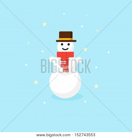 Christmas Snowman in red scarf and hat - vector Icon.