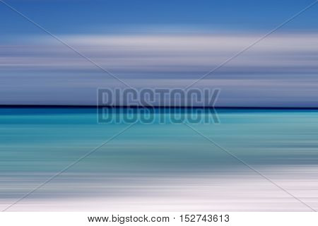 Motion blurred background of refraction in water. Panoramic dramatic view of Infinity sunset on the sea at twilight times.