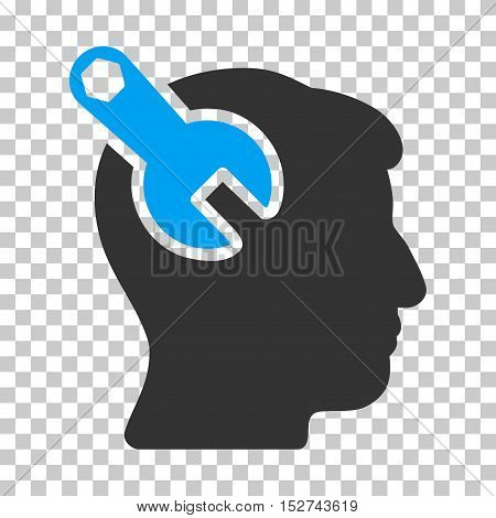 Blue And Gray Head Neurology Wrench interface pictogram. Vector pictograph style is a flat bicolor symbol on chess transparent background.