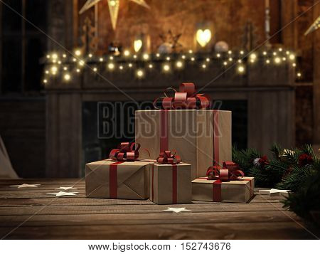 3d rendering. beautiful gift with Christmas ornaments