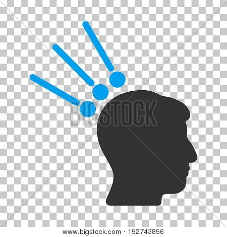 Blue And Gray Head Test Connectors toolbar icon. Vector pictogram style is a flat bicolor symbol on chess transparent background.