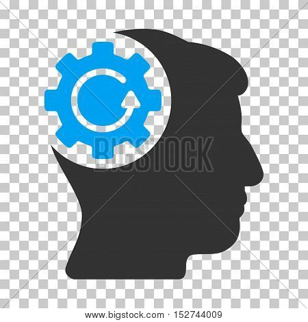 Blue And Gray Intellect Gear Rotation interface toolbar icon. Vector pictogram style is a flat bicolor symbol on chess transparent background.