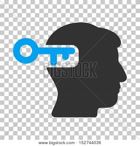Blue And Gray Intellect Key interface icon. Vector pictograph style is a flat bicolor symbol on chess transparent background.