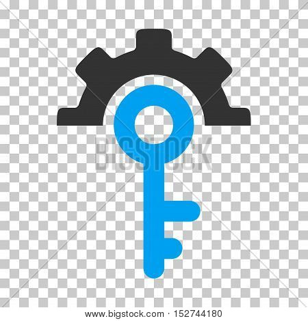 Blue And Gray Key Options interface toolbar icon. Vector pictograph style is a flat bicolor symbol on chess transparent background.