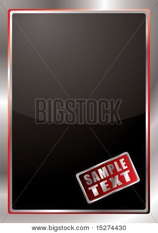 Black background with silver and red beveled border