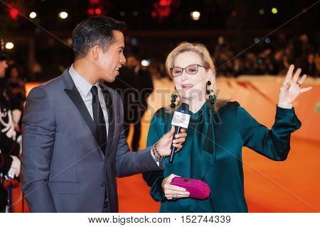 Rome Italy - October 20 2016. The American actress Meryl Streep interviewed on the red carpet at the Rome Film Festival. At the Auditorium Parco della Musica.