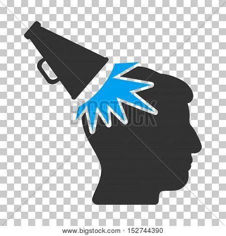 Blue And Gray Megaphone Impact Head interface toolbar icon. Vector pictogram style is a flat bicolor symbol on chess transparent background.