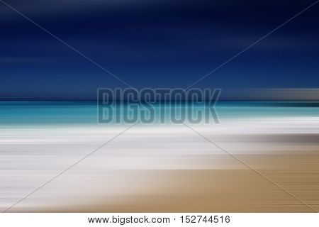 beautiful beach and tropical sea in motion blur effect
