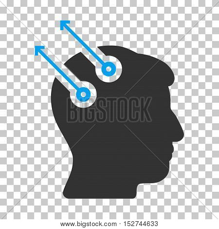 Blue And Gray Neural Interface Plugs interface icon. Vector pictogram style is a flat bicolor symbol on chess transparent background.