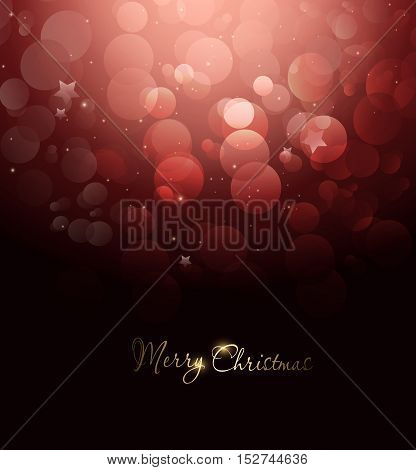 Magic Winter Holiday Christmas And New Year Red Background With Twinkle And Stars