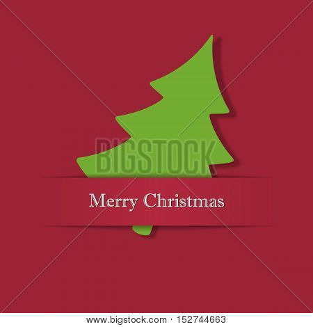 Christmas tree from paper. Vector illustration on a red background.