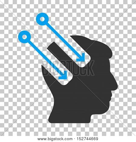 Blue And Gray Neural Interface interface toolbar icon. Vector pictograph style is a flat bicolor symbol on chess transparent background.