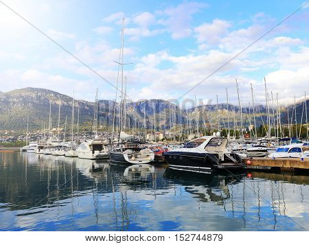 Moored Yachts  On A Sunny Day