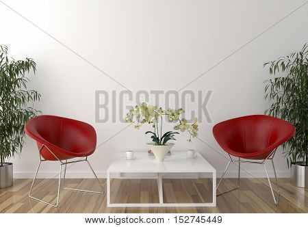 Blank wall in waiting room and two red chairs with table. 3D Illustration