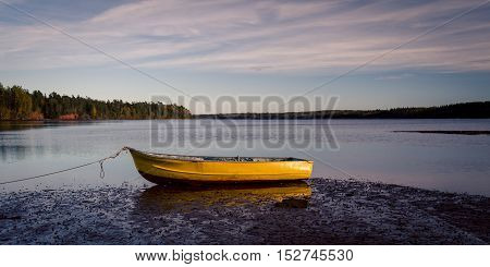 Yellow rowboat on a lake in Prince Edward Island